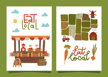 Eat local - set of A4 banners with lettering text. Farmers market concept. Healthy eating. Fresh seasonal vegetables in wooden boxes at stall. Green fields. Vector flat illustration.