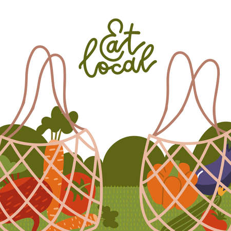 Eat local - lettering banner. Net bags with organic food. Trendy eco shopper with vegetables. Reusable textile shopping bags. Local market concept. Vector cartoon flat illustration.