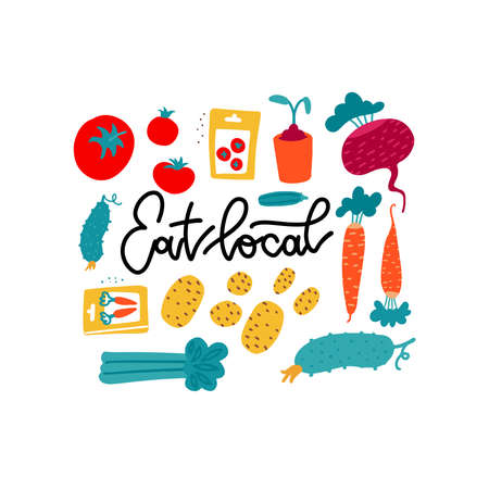 Eat local - lettering poster with funny bright vegetables and roots in flat vector cartoon style.