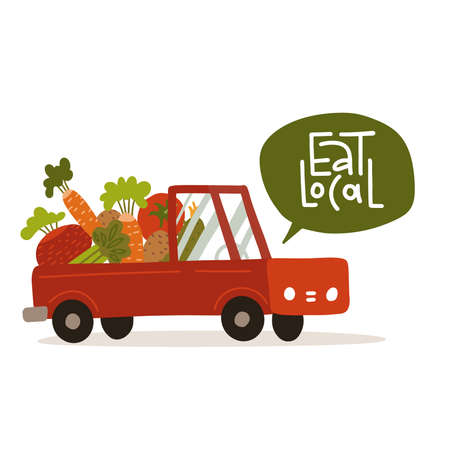 Giant vegetables in truck isolated on white background. Natural organic fresh food. Agriculture or farming concept. Lettering quote - Eat local. Flat vector illustration.