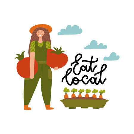 Local organic production cartoon vector illustration. Eat Local - lettering print. Woman farmer in modern flat style with huge vegetables. Female gardener holding a large tomatoes.