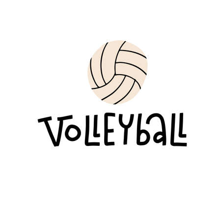 Volleyball lettering text on white background with ball. Sport, fitness, activity symbol.