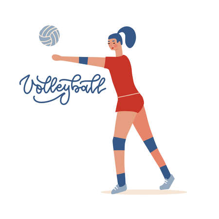 Female Volleyball Player, Sportswoman playing Indoor Volleyball. Sporting Championship Competition. Sport Vector flat illustration. Vectores