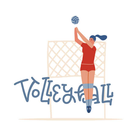 Indoor Volleyball Banner with Typography, woman Playing with Ball and net . Healthy Lifestyle Activity, Sport Competition. Cartoon Flat Vector Illustration with lettering