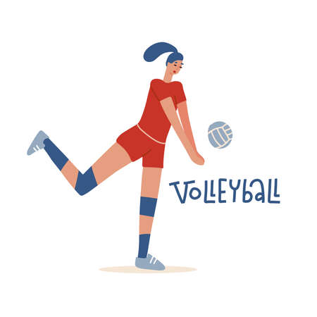 Female volley athlete character playing with ball. Volleyball player championship sport symbol illustration flat vector.