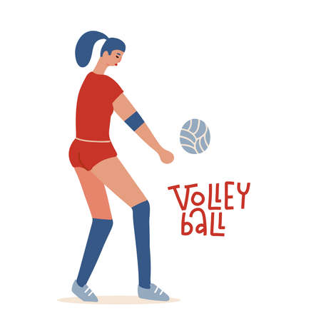 Young woman playing volleyball. Professional wolley player. Concept cartoon flat vector character isolated on white.
