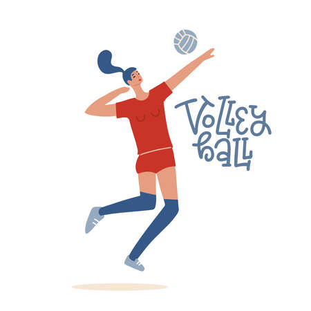 Girl volleyball player jumping to spike an incoming serve. Sportswoman playing Indoor Volleyball. Sporting Championship Competition. Flat hand drawn illustration. Vectores