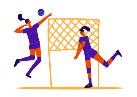 Abstract volleyball players, two girls playing volleyball, female sports games. Ball game concept. 2 women play volley with ball and net. Flat trendy vector graphics Vectores
