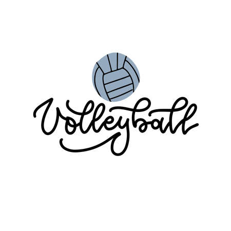 Volleyball black linear lettering on white background with volley ball. Volleyball calligraphy.