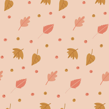Autumn leaves cute seamless pattern. Pastel Colorful fallen leaves and small berries. Autumnal wallpaper or textile design. Flat flat illustration Vectores