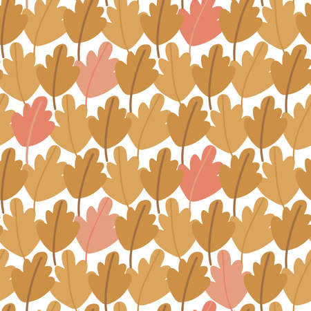 Seamless pattern of hand drawn autumn oak leaves. Multi-colored foliage in the form of an autumn forest. Flat vector illustration.