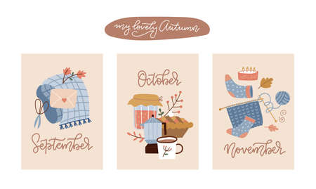 Collection of hand drawn autumn posters and cards for autumn seasonal greetings design. A4 size template. Hand written calligraphy lettering monthes names. Flat hand drawn vector illustration.