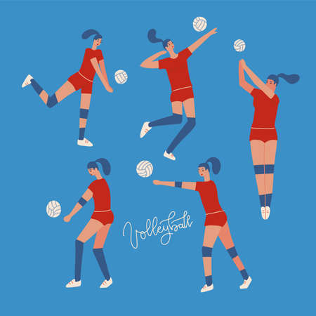 Volleyball womens team set. Characters in sports indoor activities. Vector flat illustration on blue color isolated background.
