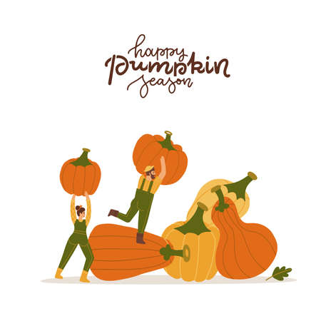 Man and woman holding a huge ripe pumpkins. Autumn harvestion concept. happy pumpkin season - lettering quote. Flat vector Illustration on a white background.