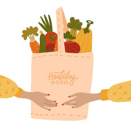 Female Human hands holding Eco bag full of vegetables isolated on white background. Eco-friendly shopper with fresh organic food from local market. Vector flat cartoon illustration