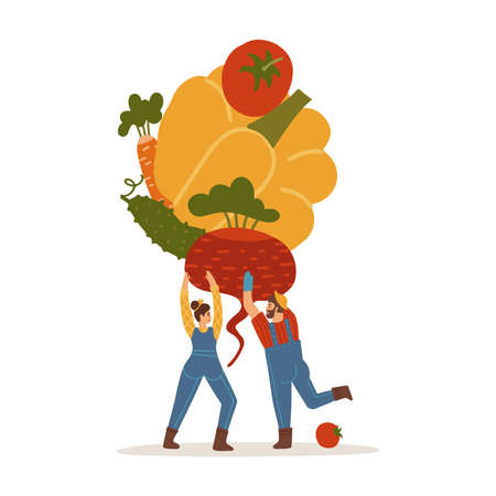 Tiny man and woman holding stack of vegetables - tomato, cucumber, carrot, beet isolated on white. Vector flat illustration of people farmer in modern style.
