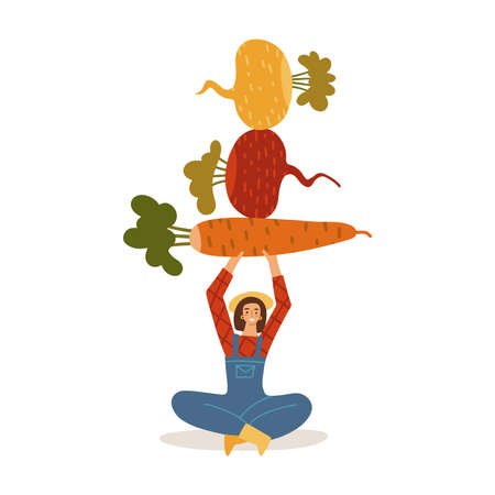 Hand drawn stylized female farmer character holds overhead and balances root vegetables - carrot, turnip, beet, radish. Balanced diet concept. Eat local organic products. Vector illustration.