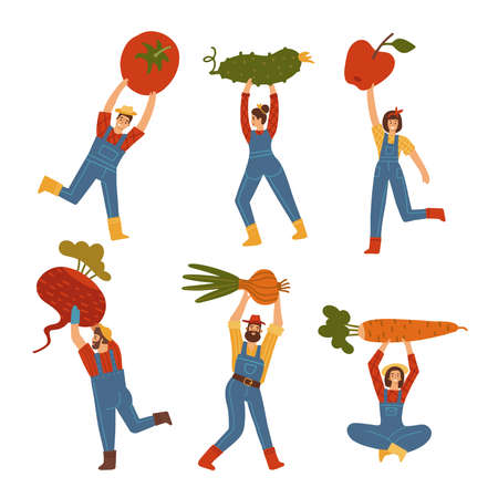 Tiny male and female People Carrying Giant Vegetables and Roots, Man and Woman Farmers Characters Harvesting set. Vector flat hand drawn Illustration