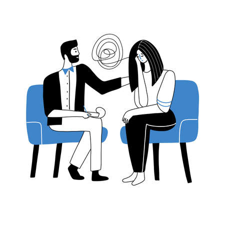 Male Psychologist having session with his patient. Counseling therapy concept. Man Character try to help woman with obsessive thoughts. Psychotherapy session. Vector doodle illustration. Vektoros illusztráció