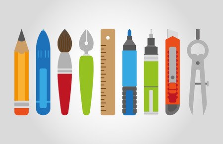 Vector stationery set in flat style, flat design, tools for artist, school equipment, EPS 8