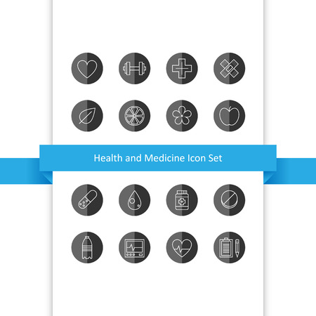 Vector health and medicine icons set, design elements for web, EPS 8 Vector