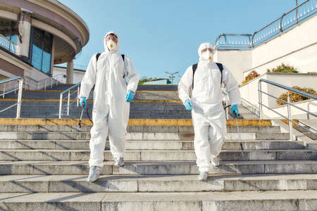 Leave the dirty work to us. Sanitization, cleaning and disinfection of the city due to the emergence of the Covid19 virus. Specialized team in protective suits and masks ready to work
