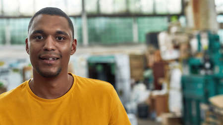 Selective focus on young man on rubbish station background