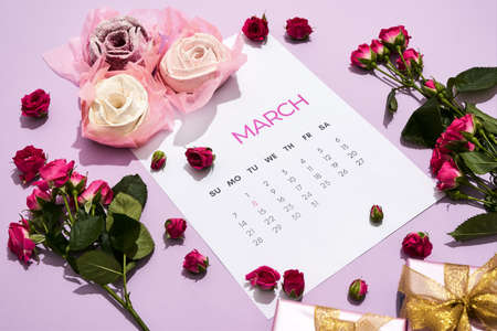 Composition with flowers for the day of March 8 免版税图像