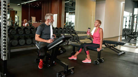 Relax time for aged sportsmen after hard workout