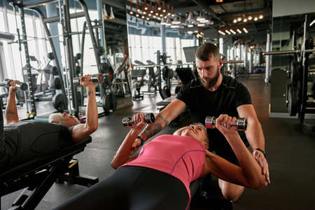 Active and healthy lifestyle, senior people in gym