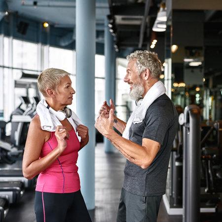 Love has no age limit concept, mature couple in gym