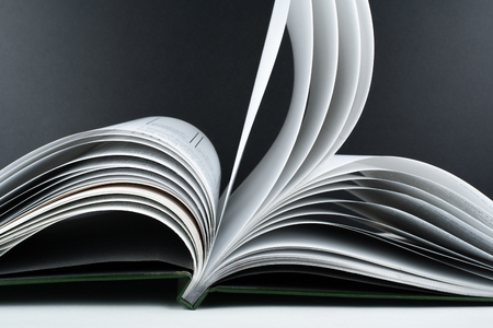 Macro view of book pages. Concept passion and fire, sail.