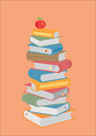 Books stacking. Open book, hardback books on red background. Back to school. Copy space for text. Illustration.