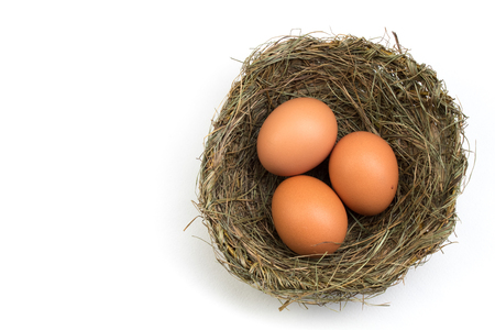 Happy Easter. Top view nest with three whole brown eggs isolated on white background. Copy space for text. Stockfoto