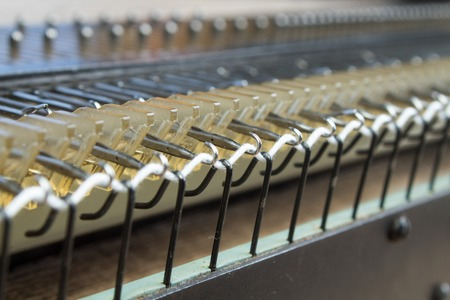 Machine for Knitting, Thread for Knitting. close-up. Stok Fotoğraf