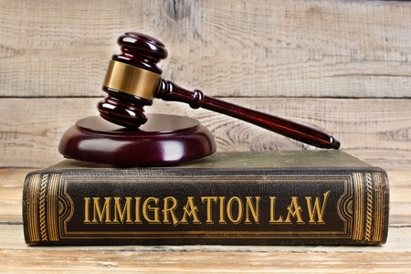 Immigration law. Judge gavel on the book on wooden table. justice and law concept. Employment law. Stockfoto