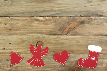 Christmas composition on wooden background with blank space for ads. Top view.