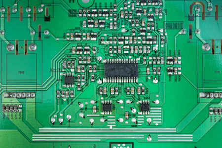 Plan macro sur le circuit imprimé arrière. Vue de dessus avec espace de copie.