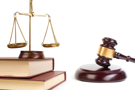 Law concept. Law symbols on bright background. Place for text. Stock Photo