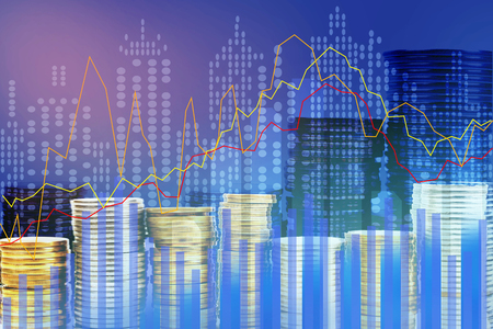 Double exposure of city, Stock market and graph on rows of coins for finance and banking , investments, trading, chart, Digital economy concept.