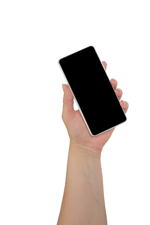 hand holding black phone isolated on white clipping path inside. Stock Photo