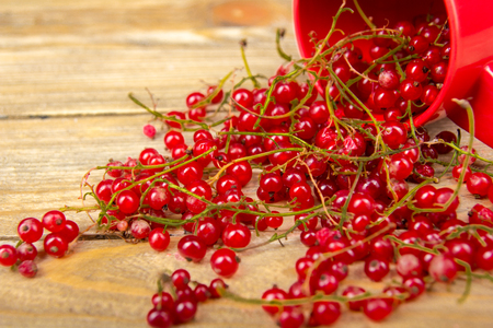 currants on wooden table background, spilled from a spice jar. .Antioxidants, detox diet, organic fruits. Berries Stockfoto