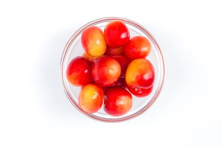 Fresh cherry on plate on Isolated white background. fresh ripe cherries. sweet cherries. Berries