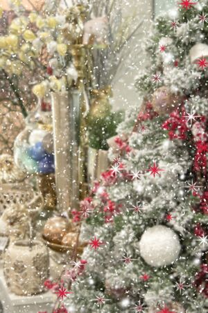 blurred christmas tree, snow, christmas, background. Happy New Year and Xmas theme Imagens