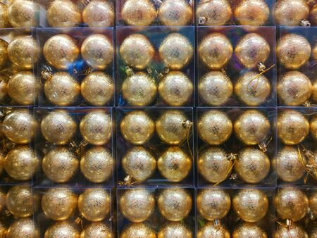 Christmas decorations for compositions. Shiny balls, tinsel. holiday background. Copy space for text.
