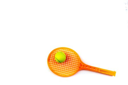 Tennis rackets and ball , isolated on white. Top view with copy space.