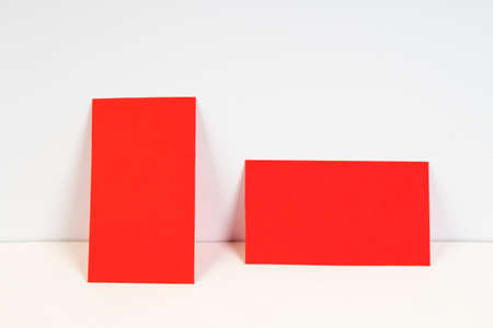 Blank red business cards on the white background. Template for ID.