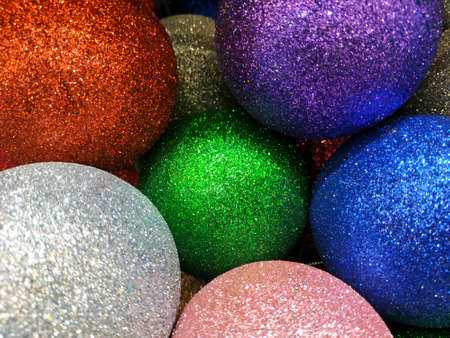 Christmas decorations for compositions. Shiny balls, tinsel. holiday background.