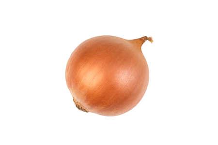Ripe onion on a white background. Top view. Zdjęcie Seryjne
