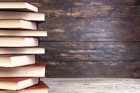 books on wooden table. Back to school. Education business concept. Copy space for text.